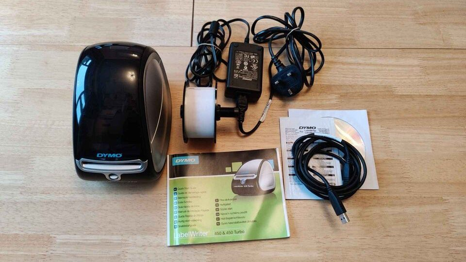 Dymo LabelWriter with charger and user guide